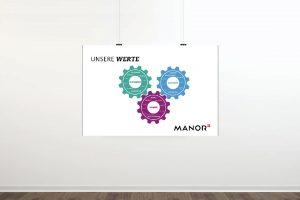 Manor Plakat, die Werte in Herzform